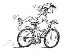 Zeichnung: Ein Kind steigt vom fahrenden Rad.