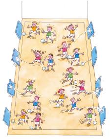 Comic: Organisationsform in der Halle.