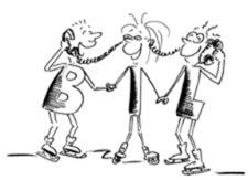 Comic: Drei Personen stehen im Kreis und telefonieren zusammen.