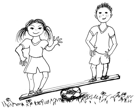 Zeichnung: Mädchen und Junge auf Balance.