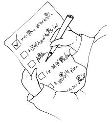 Dessin: Gros plan sur une main en train de cocher les cases d'une liste de contrôle.