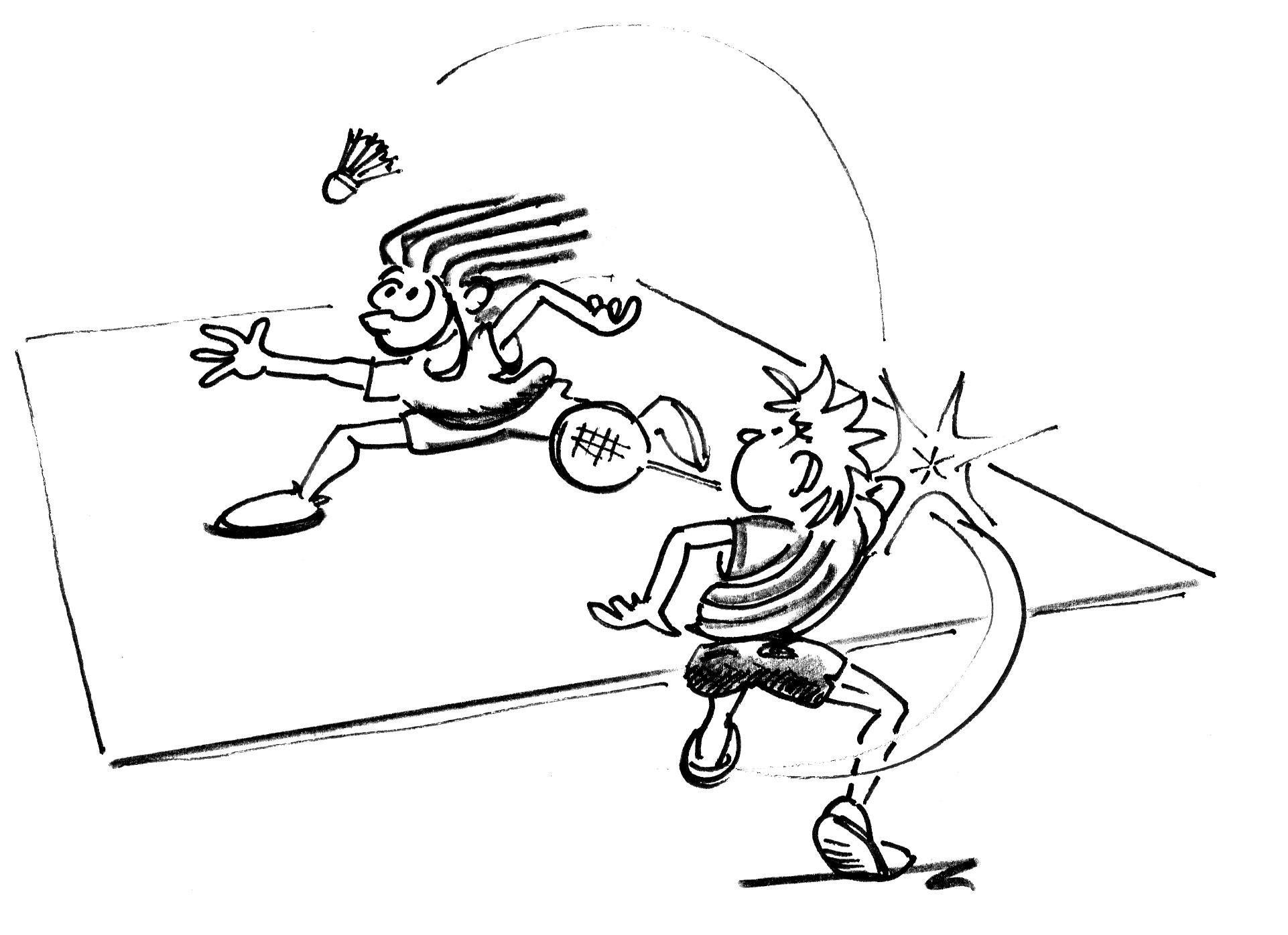 Jeux de renvoi avec enfants badminton t l mark - Dessin raquette ...