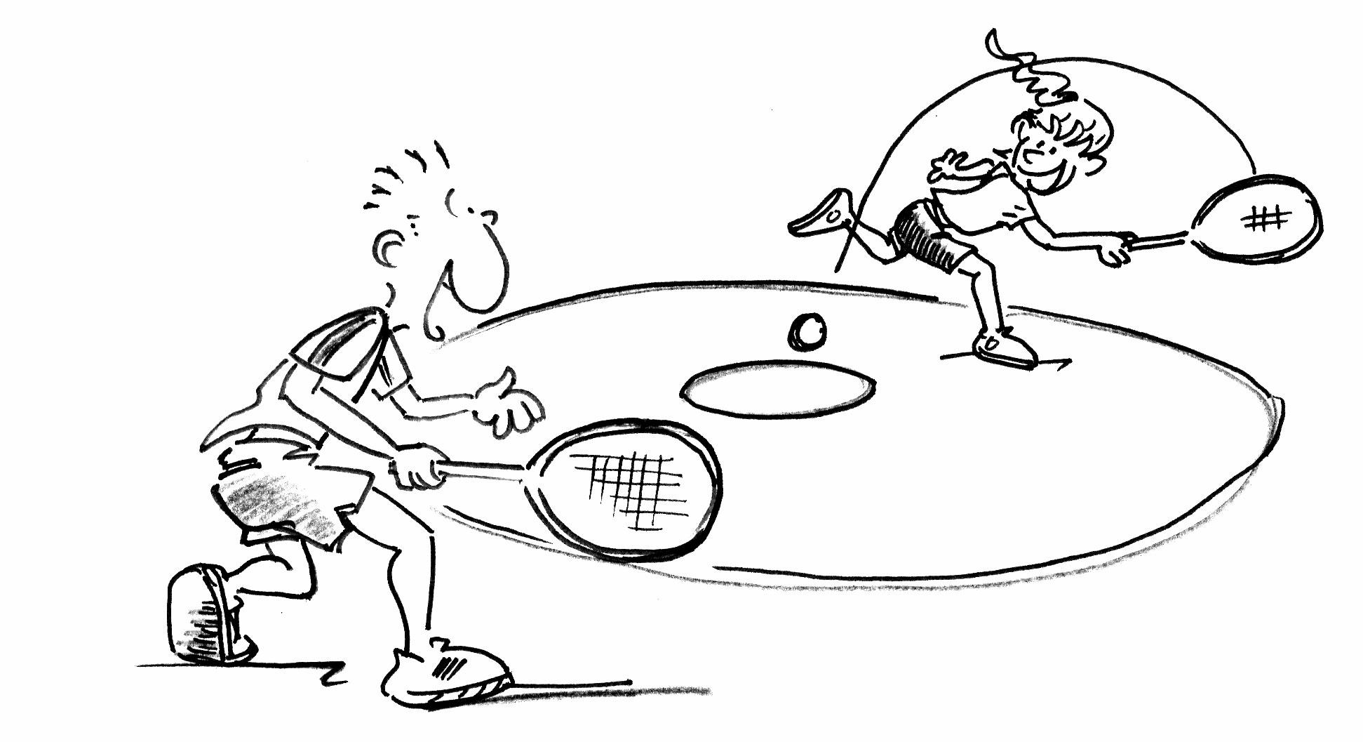 tennisspiel zu zweit