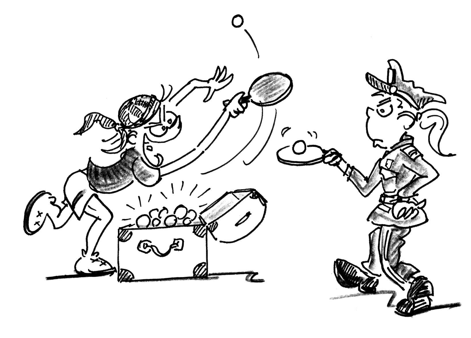 Jeux de renvoi avec enfants tennis de table police et - Dessin tennis de table ...