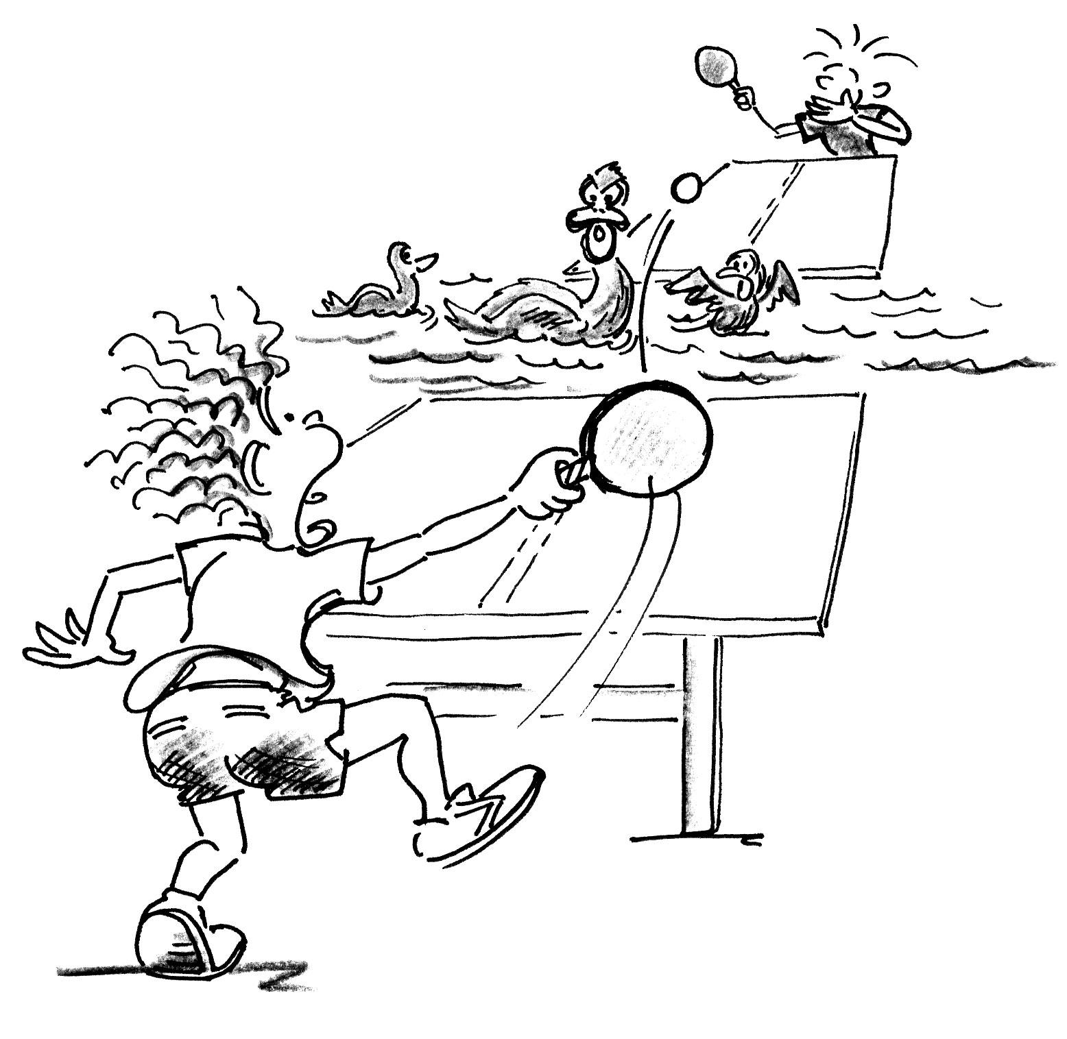 Jeux de renvoi avec enfants tennis de table mare aux - Dessin tennis de table ...