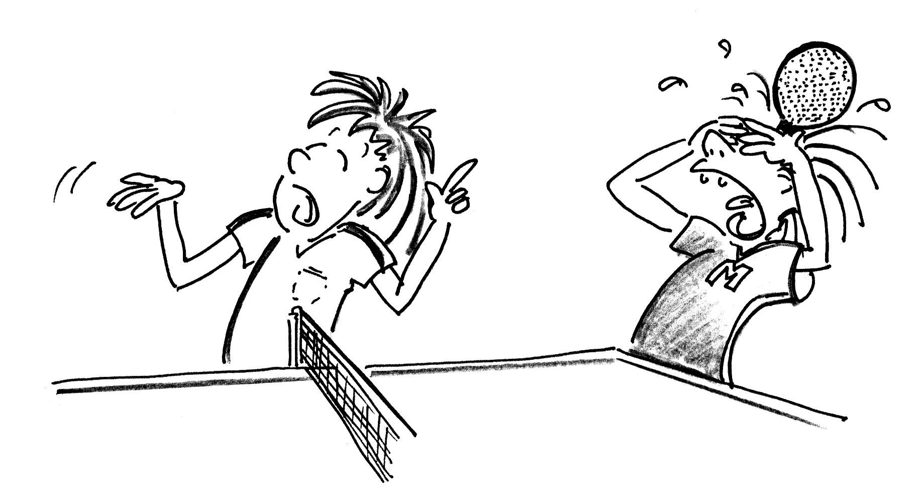 Jeux de renvoi avec enfants tennis de table tous contre - Dessin tennis de table ...