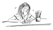 Comic: Kind sitzt an Tisch und zeicnet.