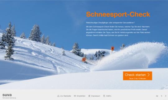 screenshot homepage schneesport check der suva deutsch