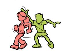 Comic: Ein Kind steuert ein anderes vor sich her.