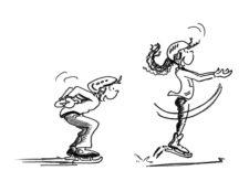 Dessin: deux enfants font des sauts sur deux jambes.