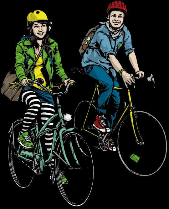 "Grafik ""Bike to schoo"" - Velofahrerin und Velofahrer"