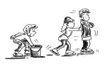 Comic: Ein Kind legt etwas in einen Eimer, ein anderes schiebt ein drittes Kind über das Eis.