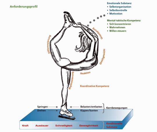 Zeichnung: Illustration des Anforderungsprofils für das Eislaufen.