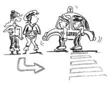 Comic: Vier Kinder ahmen auf dem Eis den Strassenverkehr nach.