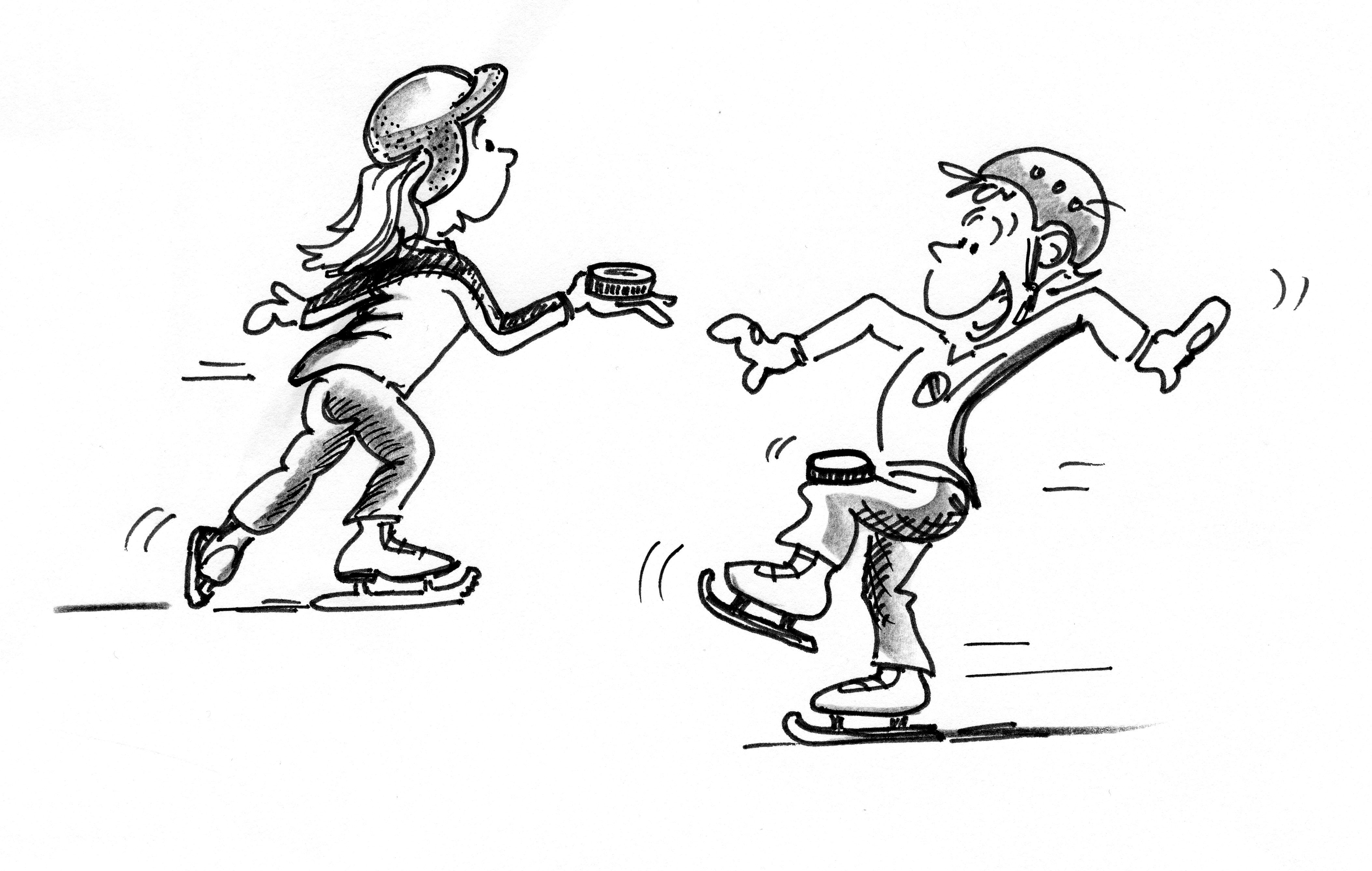 Patinage sur glace patiner et freiner en avant puck - Dessin patinoire ...