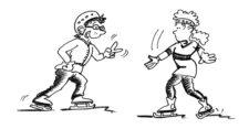"""Comic: Zwei Kinder spielen """"Schere-Stein-Papier""""."""