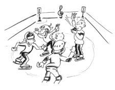 Comic: Kinder umkreisen die Lehrperson auf dem Eis.