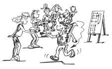 Comic: Partnerwechsel in der Gruppe