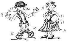 Comic: Tänzerin in Männerkleidern, Tänzer in Frauenkleider.
