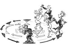 Comic: Mehrere Paare beim Tanzen im Kreis.