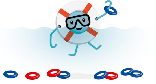 Comic: Stilisierter Schwimmring taucht nach Tauchringen.
