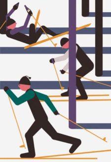 Zeichnung: Skilangläufer in verschiedenen Situationen.