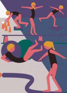 Zeichnungen: Turnerinnen bei verschiedenen Balance-Übungen.