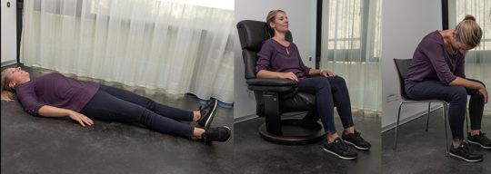 Übungspositionen (v.l.n.r.): Im Liegen, im Sitzen (Sessel), in der Droschkenkutscherstellung (Vorteil: für unterwegs beispielsweise und immer dabei, aber mit der Zeit unbequem).