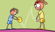 comic: zwei Kinder beim Ballprellen
