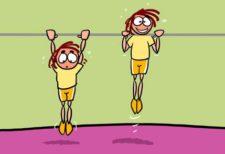 Comic: zwei Kinder machen Klimmzüge am Reck.