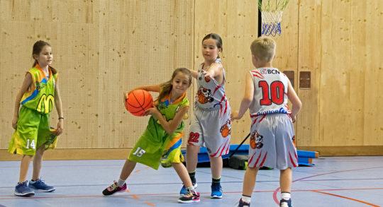Foto: quattro bambini sono impegnati in una partita di pallacanestro