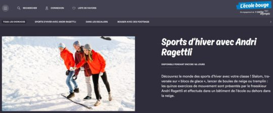 Capture d'écran du site Internet «L'école bouge»